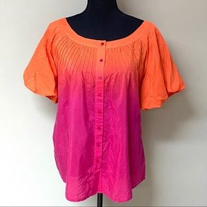 Anne Klein Ombré Button Front Puff Sleeve Top 0X